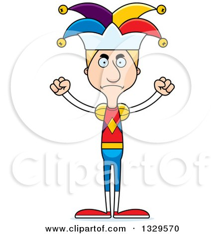 Clipart of a Cartoon Angry Tall Skinny White Man Jester - Royalty Free Vector Illustration by Cory Thoman