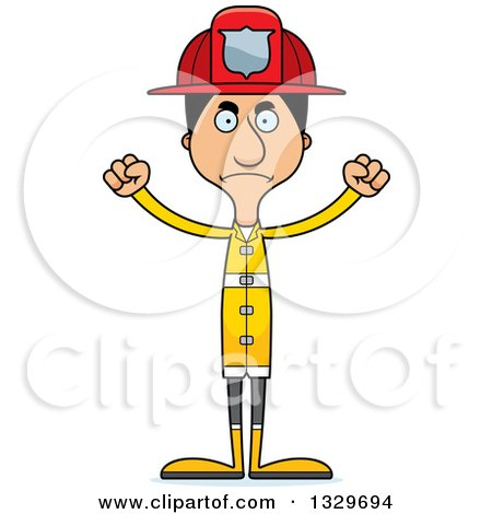 Clipart of a Cartoon Angry Tall Skinny Hispanic Man Firefighter - Royalty Free Vector Illustration by Cory Thoman