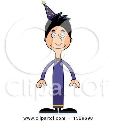 Clipart of a Cartoon Happy Tall Skinny Hispanic Wizard Man - Royalty Free Vector Illustration by Cory Thoman