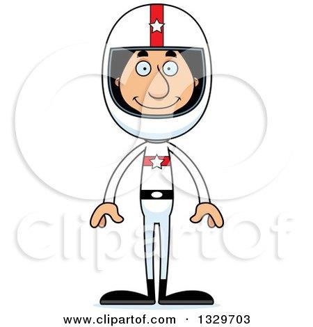 Clipart of a Cartoon Happy Tall Skinny Hispanic Race Car Driver Man - Royalty Free Vector Illustration by Cory Thoman