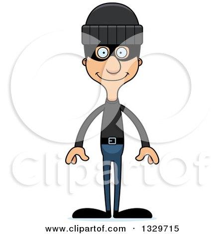 Clipart of a Cartoon Happy Tall Skinny Hispanic Man Robber - Royalty Free Vector Illustration by Cory Thoman