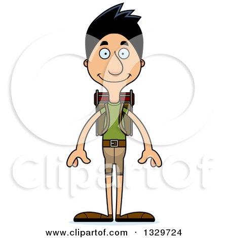 Clipart of a Cartoon Happy Tall Skinny Hispanic Man Hiker - Royalty Free Vector Illustration by Cory Thoman