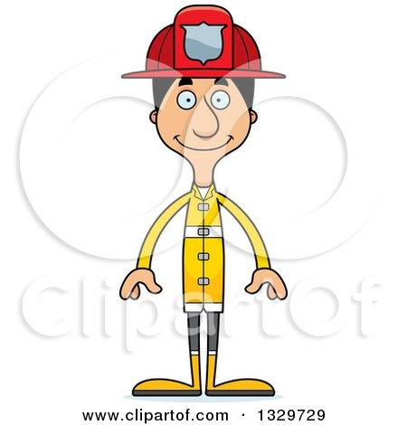 Clipart of a Cartoon Happy Tall Skinny Hispanic Man Firefighter - Royalty Free Vector Illustration by Cory Thoman