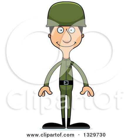 Clipart of a Cartoon Happy Tall Skinny Hispanic Man Army Soldier - Royalty Free Vector Illustration by Cory Thoman