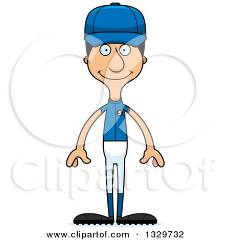 Clipart of a Cartoon Happy Tall Skinny Hispanic Man Baseball Player - Royalty Free Vector Illustration by Cory Thoman