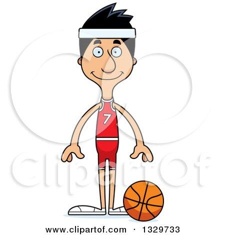 Clipart of a Cartoon Happy Tall Skinny Hispanic Man Basketball Player - Royalty Free Vector Illustration by Cory Thoman