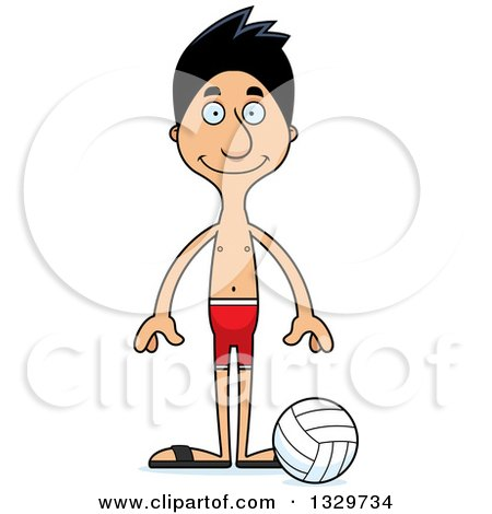 Clipart of a Cartoon Happy Tall Skinny Hispanic Man Beach Volleyball Player - Royalty Free Vector Illustration by Cory Thoman