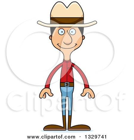 Clipart of a Cartoon Happy Tall Skinny Hispanic Cowboy Man - Royalty Free Vector Illustration by Cory Thoman