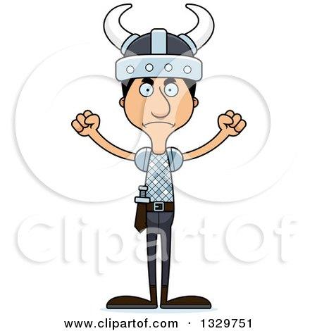 Clipart of a Cartoon Angry Tall Skinny Hispanic Man Viking - Royalty Free Vector Illustration by Cory Thoman
