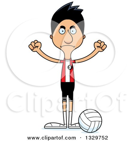 Clipart of a Cartoon Angry Tall Skinny Hispanic Man Volleyball Player - Royalty Free Vector Illustration by Cory Thoman