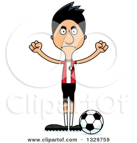 Clipart of a Cartoon Angry Tall Skinny Hispanic Man Soccer Player - Royalty Free Vector Illustration by Cory Thoman