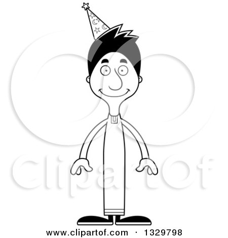 Lineart Clipart of a Cartoon Black and White Happy Tall Skinny Hispanic Wizard Man - Royalty Free Outline Vector Illustration by Cory Thoman