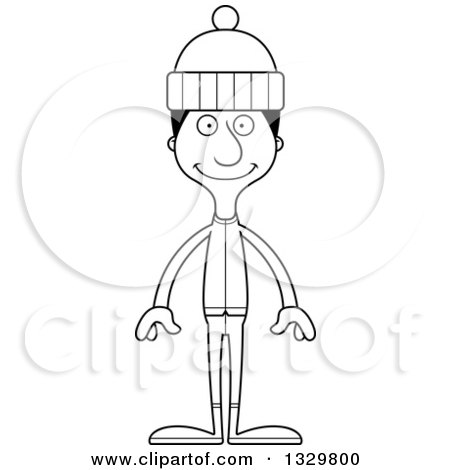 Lineart Clipart of a Cartoon Black and White Happy Tall Skinny Hispanic Man in Winter Clothes - Royalty Free Outline Vector Illustration by Cory Thoman