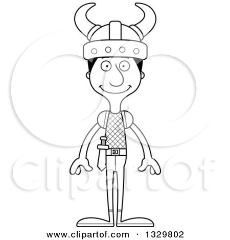 Lineart Clipart of a Cartoon Black and White Happy Tall Skinny Hispanic Man Viking - Royalty Free Outline Vector Illustration by Cory Thoman