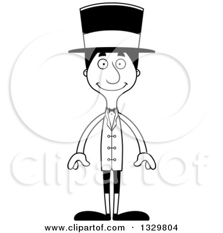 Lineart Clipart of a Cartoon Black and White Happy Tall Skinny Hispanic Man Circus Ringmaster - Royalty Free Outline Vector Illustration by Cory Thoman