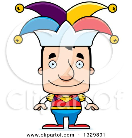 Clipart of a Cartoon Happy Block Headed White Man Jester - Royalty Free Vector Illustration by Cory Thoman