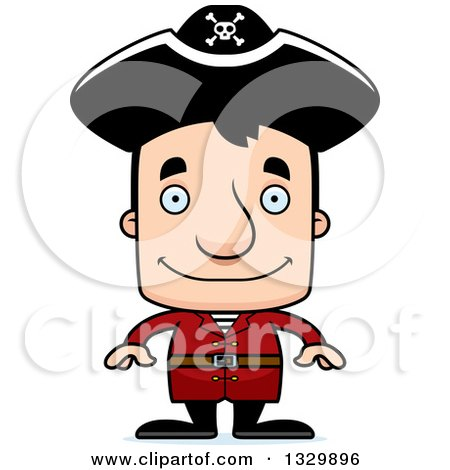 Clipart of a Cartoon Happy Block Headed White Man Pirate - Royalty Free Vector Illustration by Cory Thoman