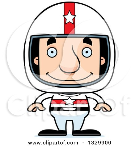 Clipart of a Cartoon Happy Block Headed White Man Race Car Driver - Royalty Free Vector Illustration by Cory Thoman