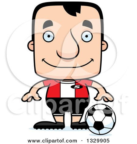 Clipart of a Cartoon Happy Block Headed White Man Soccer Player - Royalty Free Vector Illustration by Cory Thoman