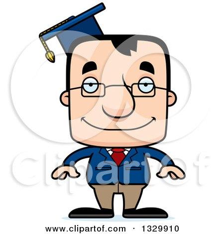 1329910 Clipart Of A Cartoon Happy Block Headed White Man Professor Royalty Free Vector Illustration