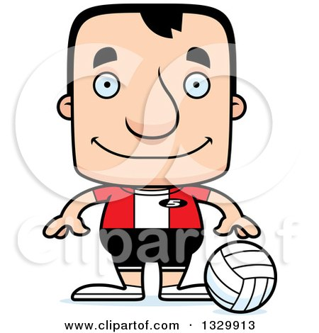Clipart of a Cartoon Happy Block Headed White Man Volleyball Player - Royalty Free Vector Illustration by Cory Thoman