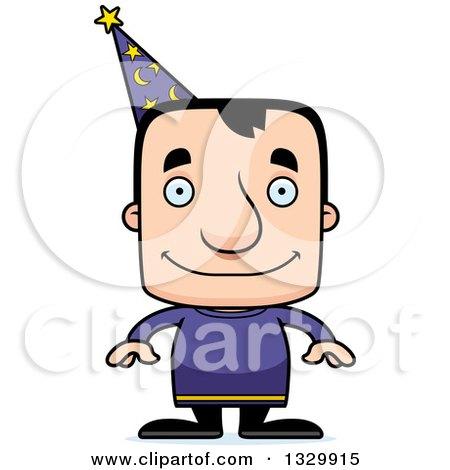 Clipart of a Cartoon Happy Block Headed White Man Wizard - Royalty Free Vector Illustration by Cory Thoman