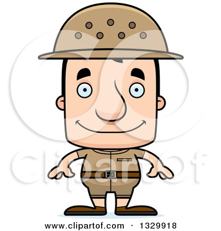 Clipart of a Cartoon Happy Block Headed White Man Zookeeper - Royalty Free Vector Illustration by Cory Thoman