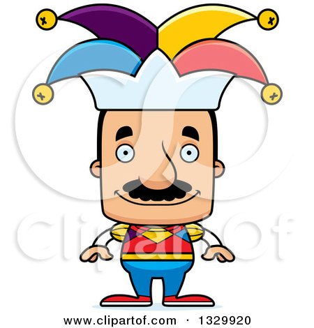 Clipart of a Cartoon Happy Block Headed Hispanic Jester Man with a Mustache - Royalty Free Vector Illustration by Cory Thoman