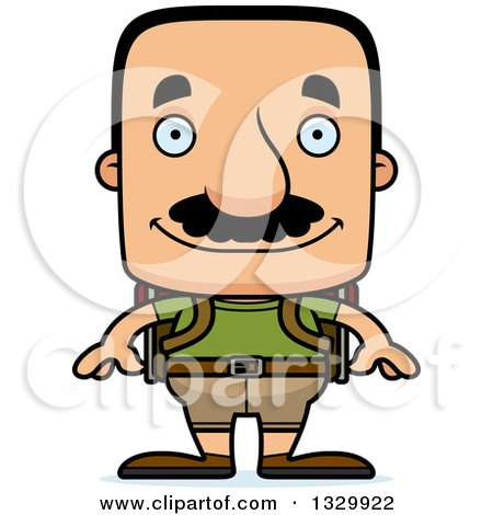 Clipart of a Cartoon Happy Block Headed Hispanic Hiker Man with a Mustache - Royalty Free Vector Illustration by Cory Thoman