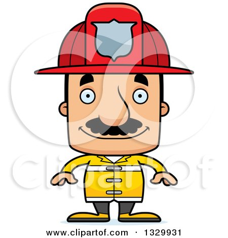 Clipart of a Cartoon Happy Block Headed Hispanic Fire Man with a Mustache - Royalty Free Vector Illustration by Cory Thoman