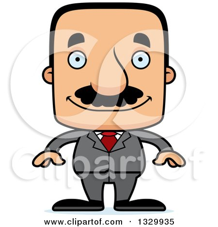 Clipart of a Cartoon Happy Block Headed Hispanic Business Man with a Mustache - Royalty Free Vector Illustration by Cory Thoman
