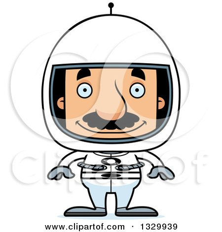 Clipart of a Cartoon Happy Block Headed Hispanic Astronaut Man with a Mustache - Royalty Free Vector Illustration by Cory Thoman