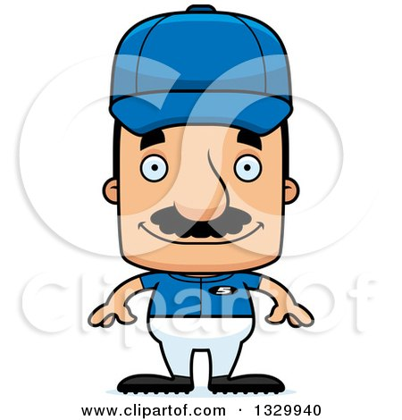 Clipart of a Cartoon Happy Block Headed Hispanic Baseball Player Man with a Mustache - Royalty Free Vector Illustration by Cory Thoman