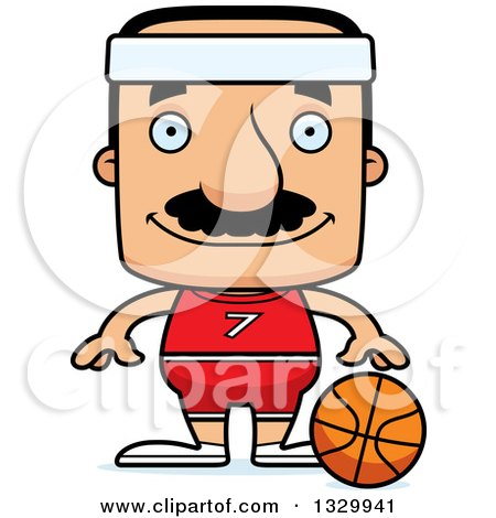 Clipart of a Cartoon Happy Block Headed Hispanic Basketball Player Man with a Mustache - Royalty Free Vector Illustration by Cory Thoman