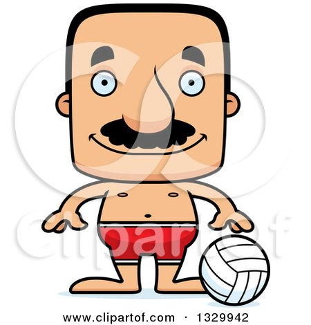 Clipart of a Cartoon Happy Block Headed Hispanic Beach Volleyball Player Man with a Mustache - Royalty Free Vector Illustration by Cory Thoman