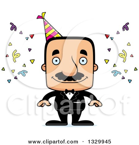 Clipart of a Cartoon Happy Block Headed Hispanic Party Man with a Mustache - Royalty Free Vector Illustration by Cory Thoman
