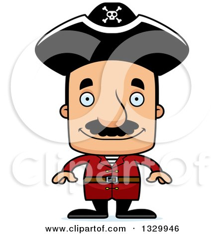 Clipart of a Cartoon Happy Block Headed Hispanic Pirate Man with a Mustache - Royalty Free Vector Illustration by Cory Thoman
