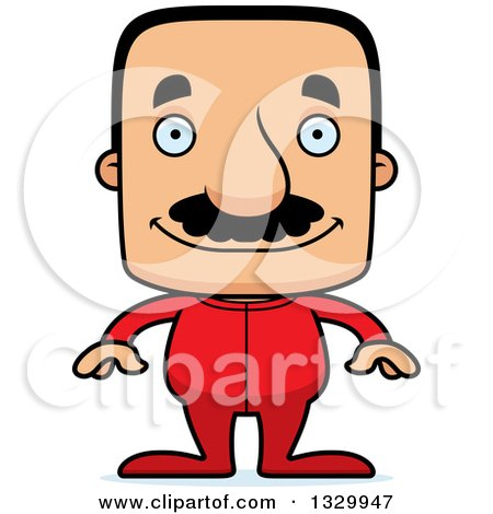 Clipart of a Cartoon Happy Block Headed Hispanic Man with a Mustache, Wearing Pajamas - Royalty Free Vector Illustration by Cory Thoman