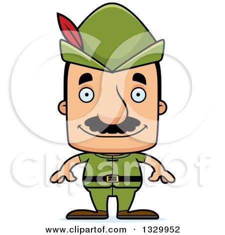 Clipart of a Cartoon Happy Block Headed Hispanic Robin Hood Man with a Mustache - Royalty Free Vector Illustration by Cory Thoman