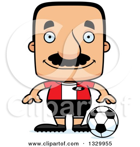 Clipart of a Cartoon Happy Block Headed Hispanic Soccer Player Man with a Mustache - Royalty Free Vector Illustration by Cory Thoman