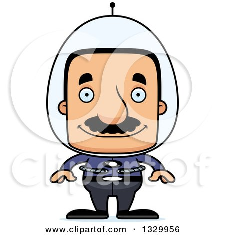 Clipart of a Cartoon Happy Block Headed Futuristic Hispanic Space Man with a Mustache - Royalty Free Vector Illustration by Cory Thoman