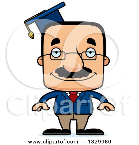 Clipart of a Cartoon Happy Block Headed Hispanic Professor Man with a Mustache - Royalty Free Vector Illustration by Cory Thoman