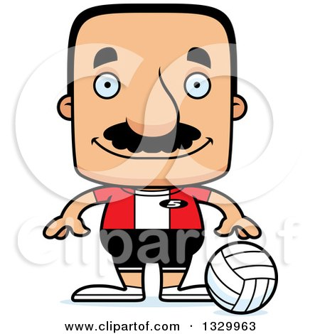 Clipart of a Cartoon Happy Block Headed Hispanic Volleyball Player Man with a Mustache - Royalty Free Vector Illustration by Cory Thoman