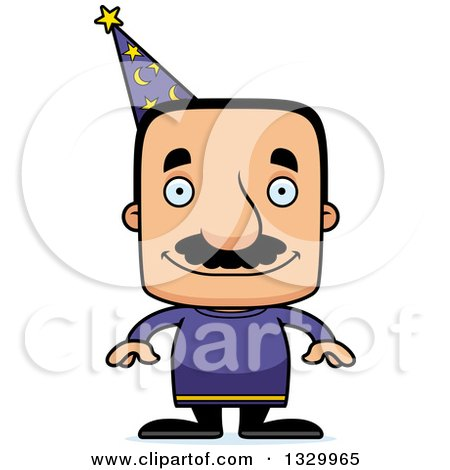 Clipart of a Cartoon Happy Block Headed Hispanic Wizard Man with a Mustache - Royalty Free Vector Illustration by Cory Thoman