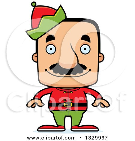 Clipart of a Cartoon Happy Block Headed Hispanic Christmas Elf Man with a Mustache - Royalty Free Vector Illustration by Cory Thoman