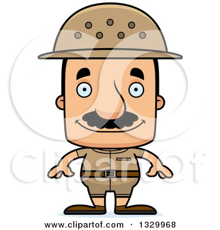 Clipart of a Cartoon Happy Block Headed Hispanic Zookeeper Man with a Mustache - Royalty Free Vector Illustration by Cory Thoman