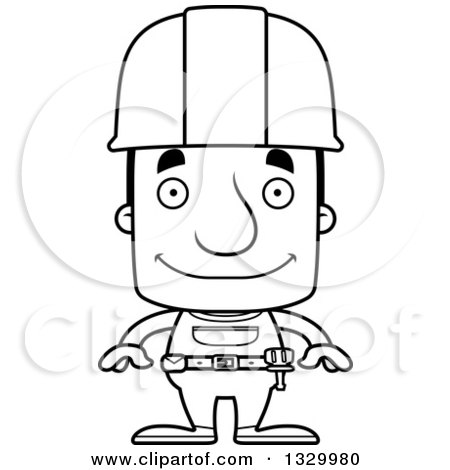 Lineart Clipart of a Cartoon Black and White Happy Block Headed White Man Construction Worker - Royalty Free Outline Vector Illustration by Cory Thoman