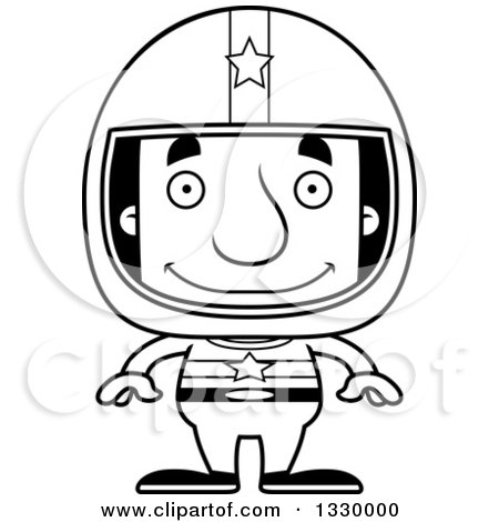 Lineart Clipart of a Cartoon Black and White Happy Block Headed White Man Race Car Driver - Royalty Free Outline Vector Illustration by Cory Thoman