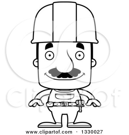 Lineart Clipart of a Cartoon Black and White Happy Block Headed Hispanic Construction Worker Man with a Mustache - Royalty Free Outline Vector Illustration by Cory Thoman