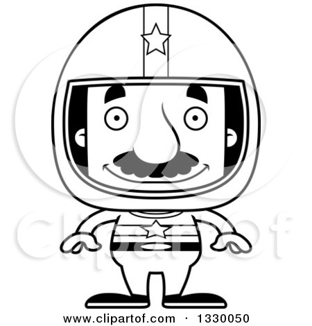 Lineart Clipart of a Cartoon Black and White Happy Block Headed Hispanic Race Car Driver Man with a Mustache - Royalty Free Outline Vector Illustration by Cory Thoman
